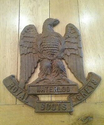Rare large cast metal plaque to the Royal Scots Greys