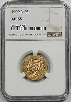 1909-D Indian Head Gold Half Eagle $5 AU 55 NGC
