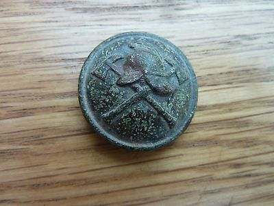 Vintage Brass Fire Service Button 1 Inch