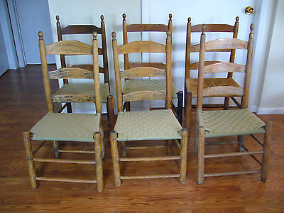 6 Original Antique 19th century Shaker Chairs Maple & Oak Ladder Back Slat Side