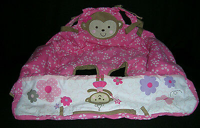 Goldbug Pink Girls Monkey Grocery Cart / High Chair Cover