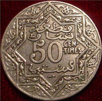 Scarce**1924 50 Centimes Morocco*thunderbolt Privy French Protectorate