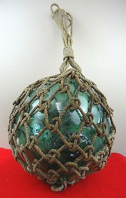 Antique Maritime Green Glass Ball Japanese Fishing Net Float Buoy Large Size 39""