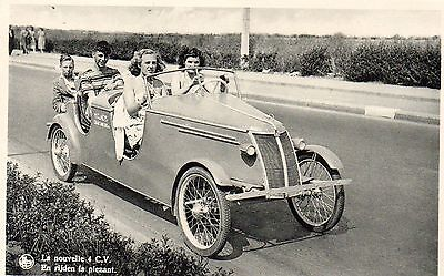 Two young couples in a 4 C.V. Novel Car  Photographic Postcard.See Scans