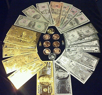 <HUGE SET>COLLECTIBLE COINS + $1-$100 GOLD/SILVER& Paper Rep.*Banknotes + MORE!p