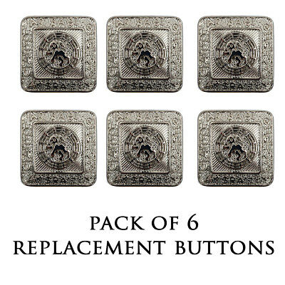 New Kilt Bundle of 6 Nickel Prince Charlie/Argyll Jacket Button - Small