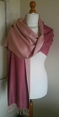 Small Pashmina Shawl Wrap  Scarf In Two Tone Dusky Pink Reversible