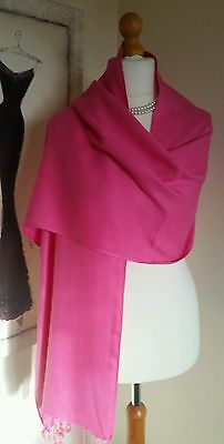 Small Pashmina Shawl Wrap  Scarf In Cerise Pink   Colour