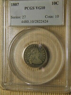 1807 DRAPED BUST LARGE EAGLE 10c PCGS VG/FINE-10 CHOICE EARLY SILVER TYPE