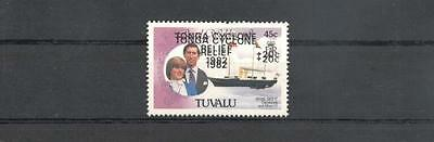 (931669) Cyclone, Ship, Royalty, Tuvalu - double oveprint
