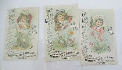 Lot of 3 GILT EDGE Gloss Dressing for Ladies Shoes Victorian Trade Cards