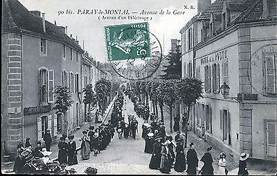 71  Cpa Animee 1912 - Paray-Le-Monial-Avenue De La Gare Arrivee D'un Pelerinage