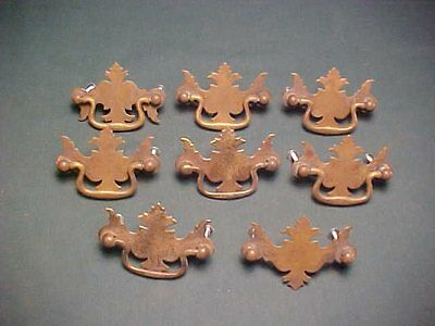 Eight Solid Brass Chippendale Style Furniture Drawer Pulls