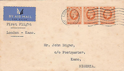 Gb : Imperial Airways First Flight Cover From London To Kano, Nigeria (1936)