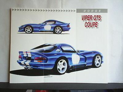 """DODGE VIPER GTS COUPE - SALES BROCHURE / INFORMATION SHEET 1992 + 10"""" x 8"""" PHOTO"""