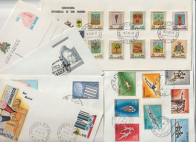 San Marino, 11 x FDC or postcards, see scan, between 1964-1985