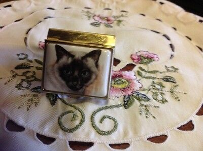 Cat Pill Box In Gold Plate