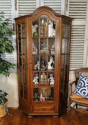Vintage French Bookshelf Display Cupboard Cabinet Divided Glass Doors Shelves