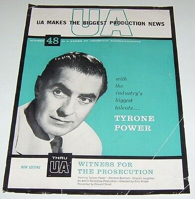 Tyrone Power Vintage Announcements Witness for the Prosecution promo mini poster