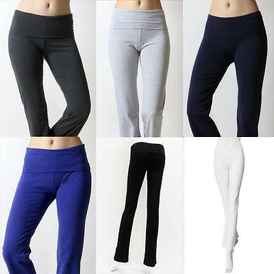 Heavyweight PREMIUM COTTON Foldover Flared YOGA PANTS  Slim Lounge Stretch 226