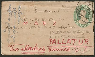 India Used in Burma 1921 KGV ½a Postal Stationery Cover Used THONZE Postmark