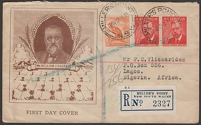 Australia 1948 KGVI Farrer Illustrated Registered First Day Cover to Nigeria