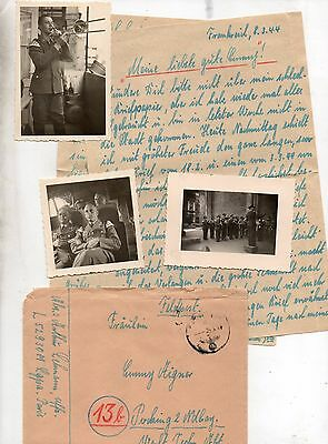 German Ww2 Soldiers Letter+Photos Luftwaffe In France March 1944 Fpn L52930M