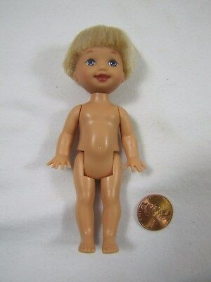 "New Barbie Kelly TOMMY DOLL 4.5"" Tall Blonde Hair Blue Eyes Nude Mattel Loose"