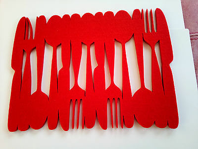 4 Red Ikea  Very Unusual Thick Felt Placemats, Knife Fork & Spoon Design