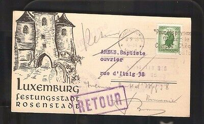 BOF Luxembourg Luxemburg beautiful postcard Retour Returned 1945 Elections