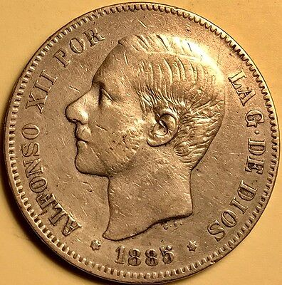 Spain_ Alfonso XII - 5 Pesetas - 1885(87) - Large Silver Coin