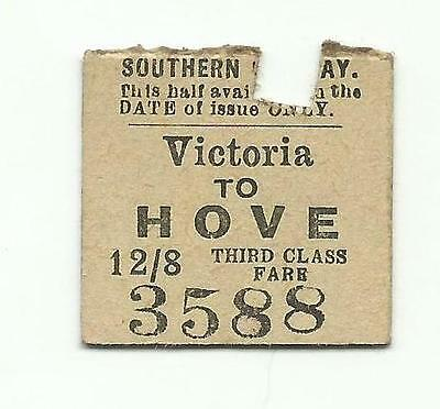 SR ticket, Victoria to Hove, 1923 (LBSCR transitional)