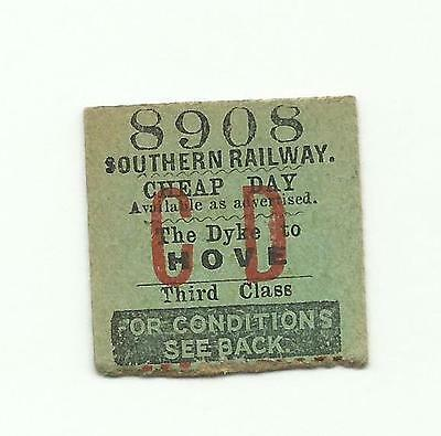 SR ticket, The Dyke to Hove, 1936