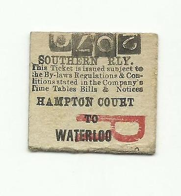 SR ticket, Hampton Court to Waterloo, 1925 (LSWR transitional)