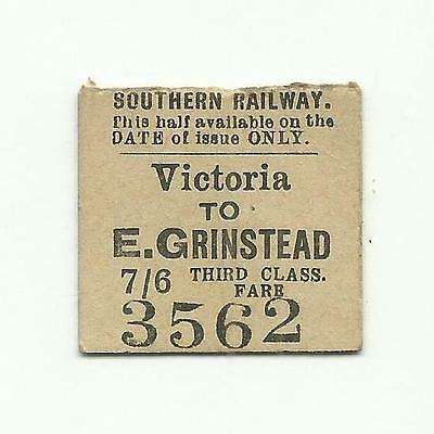 SR ticket, Victoria to East Grinstead, 1924 (LBSCR transitional)