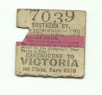 SR ticket, Eastbourne to Victoria, 1924, 1st class (LBSCR transitional)
