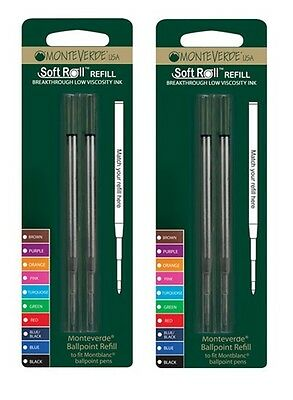 2 Packs - Monteverde Ballpoint Pen Refills for Montblanc - BLACK BOLD - New