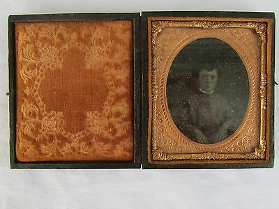 Antique 1/6 Plate Tintype in Case Photo of Youth Teen Girl