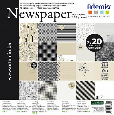BLOC NEWSPAPER 40 PAGES Assortiment 30x30cm 'Artemio' 40 pages NEWSPAPER SISSI