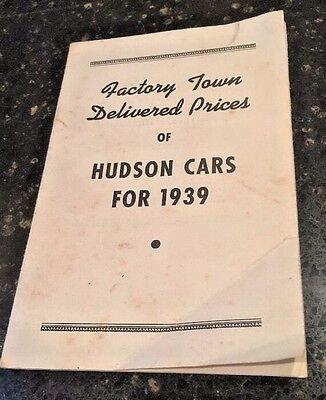 1939 HUDSON Factory Town Delivered Prices Pamphlet