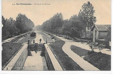 AY CHAMPAGNE - Le Canal et l'Ecluse - CPA 51