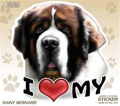 "I Love My Saint Bernard Dog 4"" Car Home Plastic Sticker Decal Pet Gift USA"
