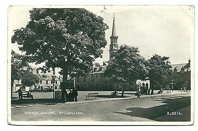 Old Postcard, STONEHAVEN Market Square real photo, posted, damaged