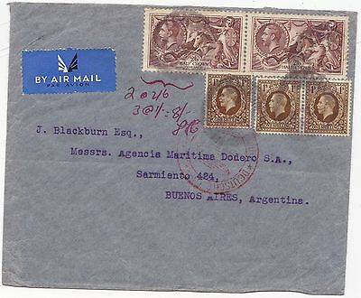 c.1936 8/- POSTAGE AIRMAIL COVER TO ARGENTINA INCL PAIR 2/6d SEAHORSE STAMPS