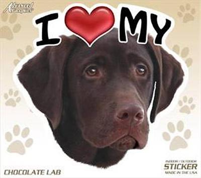 "I Love My Chocolate Lab Dog 4"" Car Home Vinyl Sticker Decal Labrador Retriever"