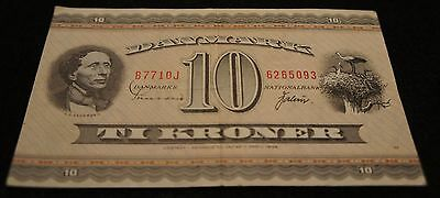 1970-71 10 Kroner Danmark Bank Note in VG Condition Extremely Nice Note!!