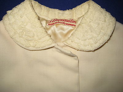 Vintage Girls Lined Linen Button Coat-Cream White-Lace Trim Collar/pockets-Small