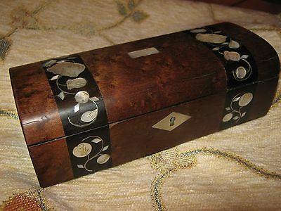 c1870 ANTIQUE WOODEN BOX - ENGRAVED MOTHER OF PEARL INLAY - 6.5 inch