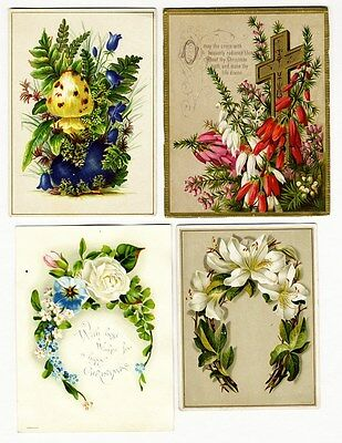 4 VICTORIAN CHRISTMAS Greeting Cards 1880s Flower Wreaths PLANTS Christian Cross