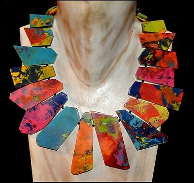 French Designer Gorgeous Spectacular Swirled Multi Color Resin Bib Necklace